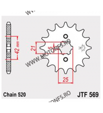 JT - Pinion (fata) JTF569, 15 dinti - KLX250/KX250-1998/KX500-2005 105-427-15 JT Sprockets JT Sprockets Pinion 39,00lei 39,0...