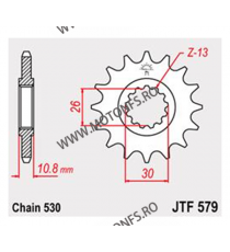 JT - Pinion (fata) JTF579RB (garnitura cauciuc), 16 dinti - YZF-R1-2003/FZS1000Fazer-2005 102-667-16-2 JT Sprockets JT Sprock...