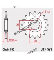 JT - Pinion (fata) JTF579RB (garnitura cauciuc), 17 dinti - YZF-R12004-/FJ1100/1200/MT01 102-667-17-2 JT Sprockets JT Sprocke...