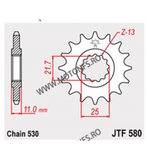 JT - Pinion (fata) JTF580RB (garnitura cauciuc), 16 dinti - FZ6 2004-/FZ750/YZF-R7 102-664-16-2 JT Sprockets JT Sprockets Pin...