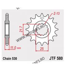 JT - Pinion (fata) JTF580RB (garnitura cauciuc), 17 dinti - FZX750 & YZF1000/FZR1000 530 102-664-17-2 JT Sprockets JT Sprocke...