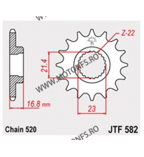 JT - Pinion (fata) JTF582RB (garnitura cauciuc), 16 dinti - XJ600Diversion 1991-2008 102-482-16-2 JT Sprockets JT Sprockets P...