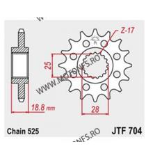 JT - Pinion (fata) JTF704RB (garnitura cauciuc), 16 dinti - Apr1000RSV/SL/RST 2001-/F800GS 105-513-16-2 JT Sprockets JT Sproc...