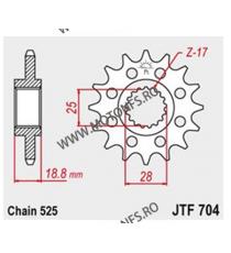 JT - Pinion (fata) JTF704RB (garnitura cauciuc), 17 dinti - RSV1000-2003/ETV 2001-/F650GS 105-513-17-2 JT Sprockets JT Sprock...