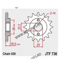 JT - Pinion (fata) JTF736, 14 dinti - Ducati 748Biposto/E/RS/SP/750 105-451-14 JT Sprockets JT Sprockets Pinion 102,00lei 10...