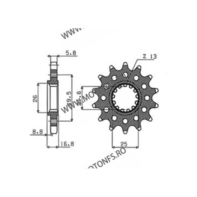 SUNSTAR - Pinion (fata) 39714, 14 dinti - ZX-6R/ZX-6RR 2003-2006 105-415-15 SUNSTAR PINION JT Sprockets Pinion 73,00lei 73,0...