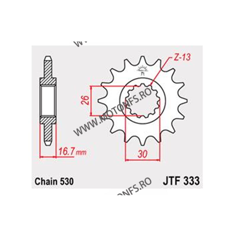 JT - Pinion (fata) JTF333RB (garnitura cauciuc), 16 dinti - VFR750F/CBR900RR/1000RR 101-664-16-2 JT Sprockets JT Sprockets Pi...