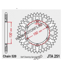 JT - Foaie (spate) Aluminiu JTA251, 50 dinti - WR250 WR250 F YZ250 YZ250 F WR400 F WR426 F WR450 F 110-469-50  JT Foi Spate 1...