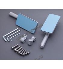 Set oglinzi retrovizoare Universal Argintiu Din aluminiu Dreptunghi Compatibile cu 8mm / 10mm IPI2JARJ IPI2JARJ  Oglinzi CNC ...