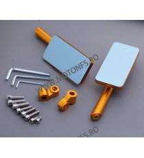 Set oglinzi retrovizoare Universal Auriu Din aluminiu Dreptunghi Compatibile cu 8mm / 10mm IPI2JARJ IPI2JARJ  Oglinzi CNC 120...