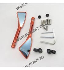 Set Oglinzi Retrovizoare Universal CNC Pentru Motocicleta Naked Streetfighter Sport Portocaliu OCM17845 OCM17845  Oglinzi CNC...