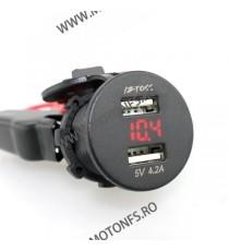 IZTOSS USB Dublu 4.2A , Si Voltmetru Moto LED Rosu Codvm9303 vm7101  USB Voltmetru Moto  100,00RON 100,00RON 84,03RON 84,0...